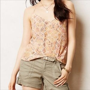 E by Eloise Blush & Tan Snakeskin Silk Tank